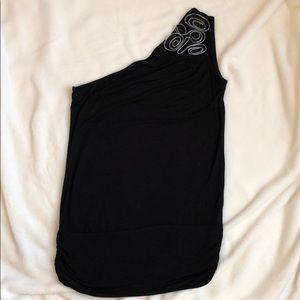 Black One Shoulder Top w/ Zipper
